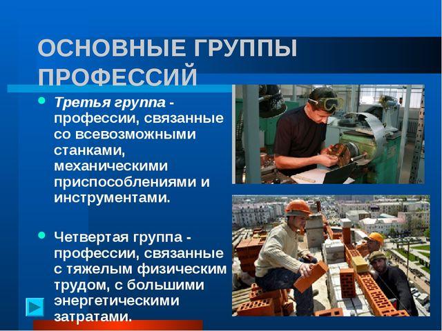 ОСНОВНЫЕ ГРУППЫ ПРОФЕССИЙ Третья группа - профессии, связанные со всевозможн...