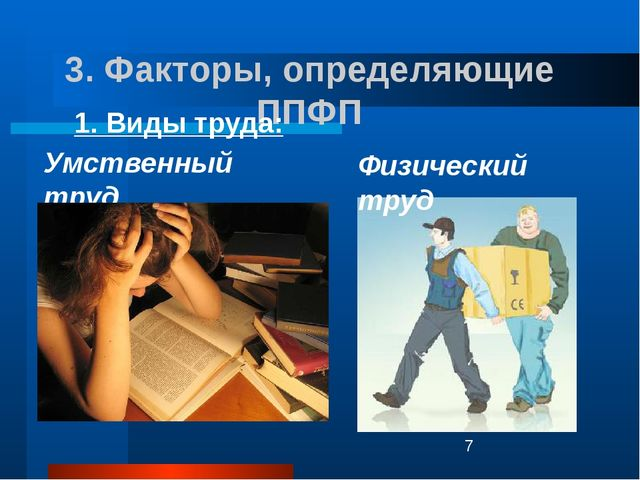 3. Факторы, определяющие ППФП Физический труд 1. Виды труда: Умственный труд