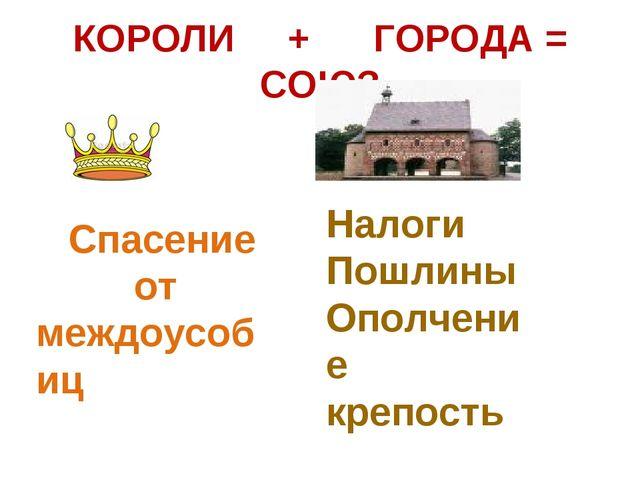 КОРОЛИ + ГОРОДА = СОЮЗ Спасение от междоусобиц Налоги Пошлины Ополчение крепо...