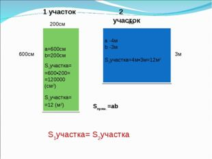 200см 600см 4м 3м 1 участок 2 участок Sпрям. =аb а=600см b=200см S1участка=
