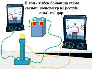 ІІ топ - тізбек бойынша схема сызып, вольтметр көрсетуін анықтаңдар. 0 1 2 A
