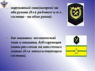 нарукавный знак(шеврон) на оба рукава (для рядового и мл. состава - на один р