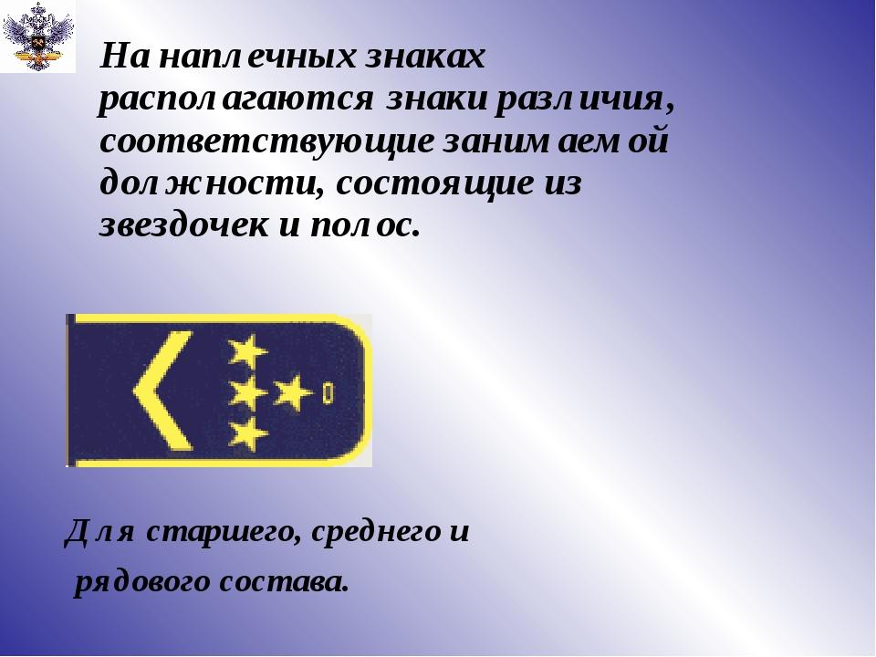 На наплечных знаках располагаются знаки различия, соответствующие занимаемой...