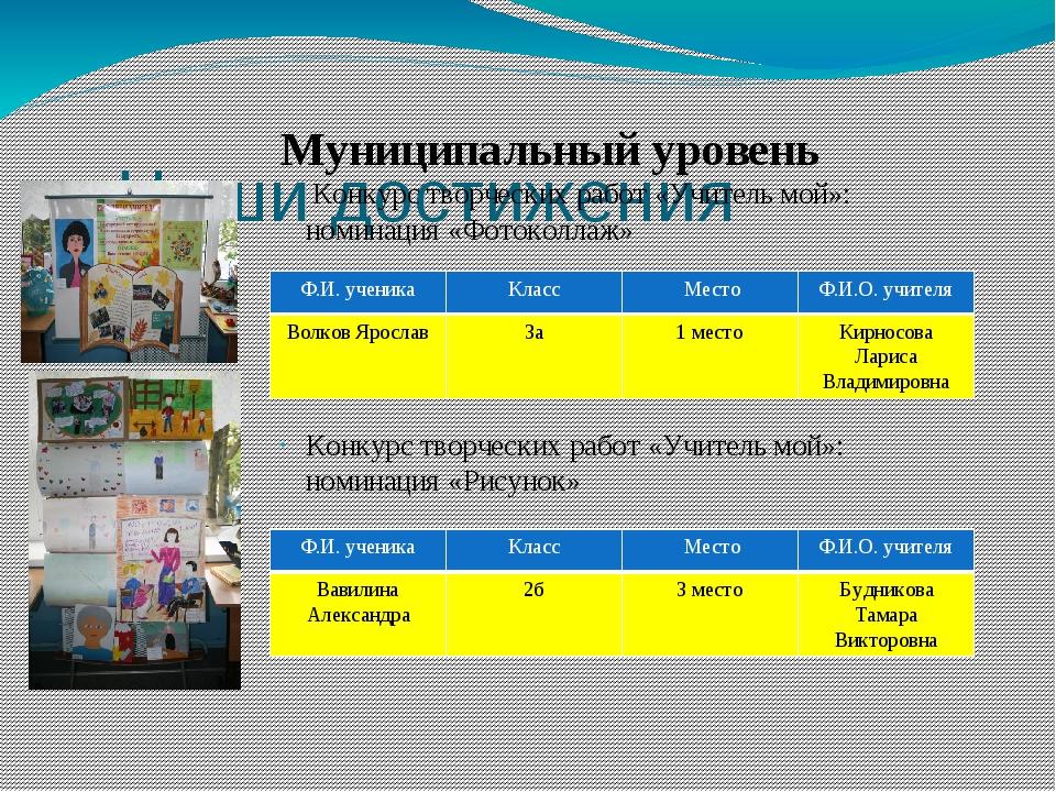 Наши достижения Муниципальный уровень Конкурс творческих работ «Учитель мой»...