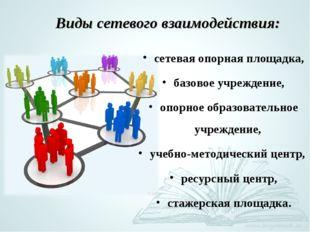 Виды сетевого взаимодействия: сетевая опорная площадка, базовое учреждение, о