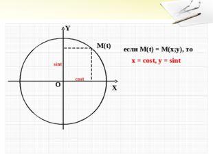 Y X O M(t) если M(t) = M(x;y), то x = cost, y = sint cost sint