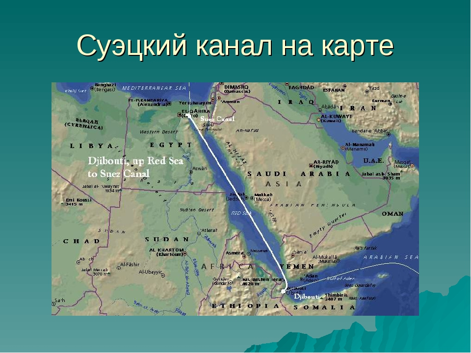 Где на карте находится суэцкий канал