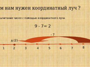 Зачем нам нужен координатный луч ? 3. Вычитание чисел с помощью координатног