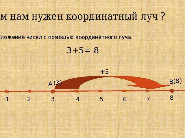 Зачем нам нужен координатный луч ? 2. Сложение чисел с помощью координатного...
