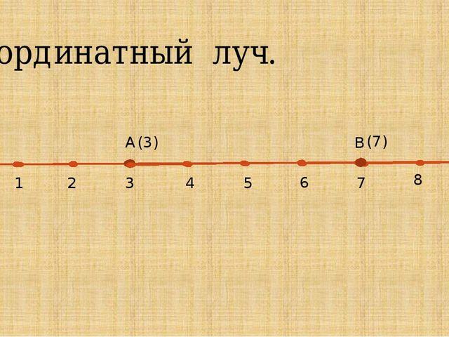 Координатный луч. О 1 3 2 L A (3) 4 5 6 7 8 9 B (7)