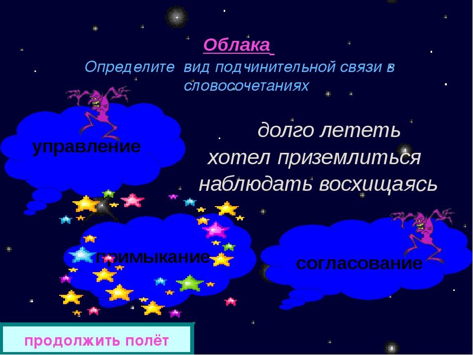 Облака Определите вид подчинительной связи в словосочетаниях долго лететь хот...