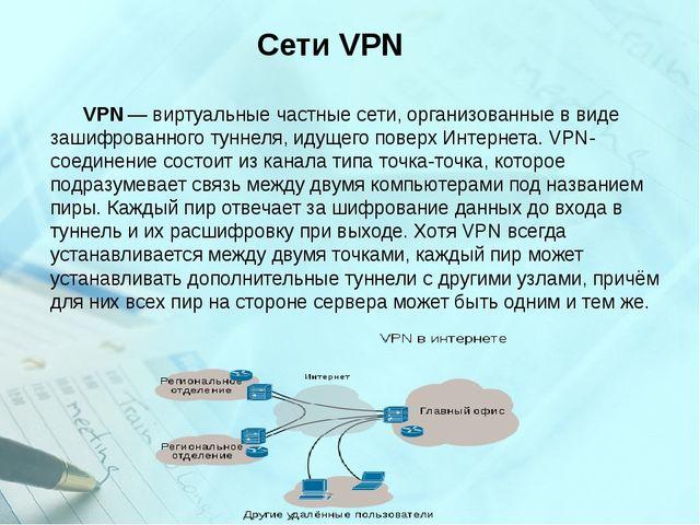 Сети VPN VPN— виртуальные частные сети, организованные в виде зашифрованног...
