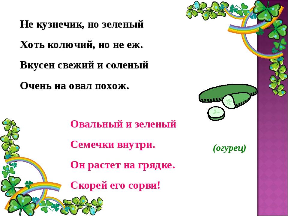 Не кузнечик, но зеленый Хоть колючий, но не еж. Вкусен свежий и соленый Очень...