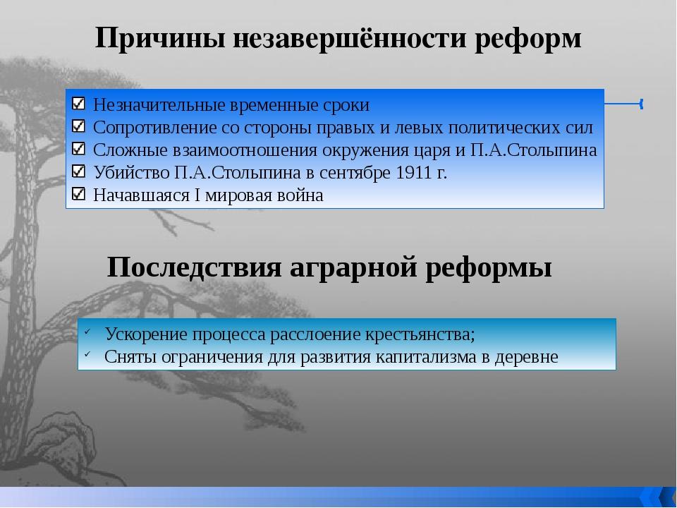 Причины незавершённости реформ Незначительные временные сроки Сопротивление с...