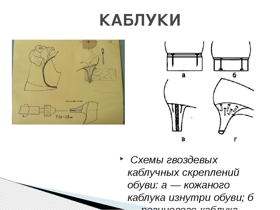 Схемы гвоздевых каблучных скреплений обуви: а — кожаного каблука изнутри обу...