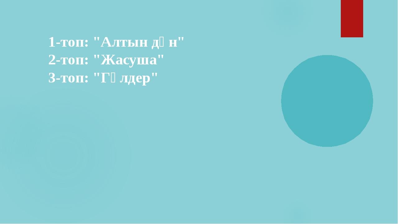"""1-топ: """"Алтын дән"""" 2-топ: """"Жасуша"""" 3-топ: """"Гүлдер"""""""
