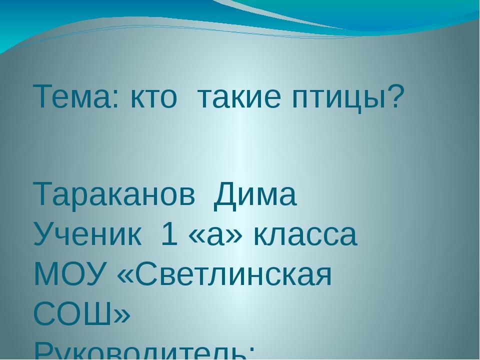 Тема: кто такие птицы? Тараканов Дима Ученик 1 «а» класса МОУ «Светлинская СО...