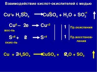 Взаимодействие кислот-окислителей с медью Cu + H2SO4 CuSO4 + H2O + SO2 Cu0 –