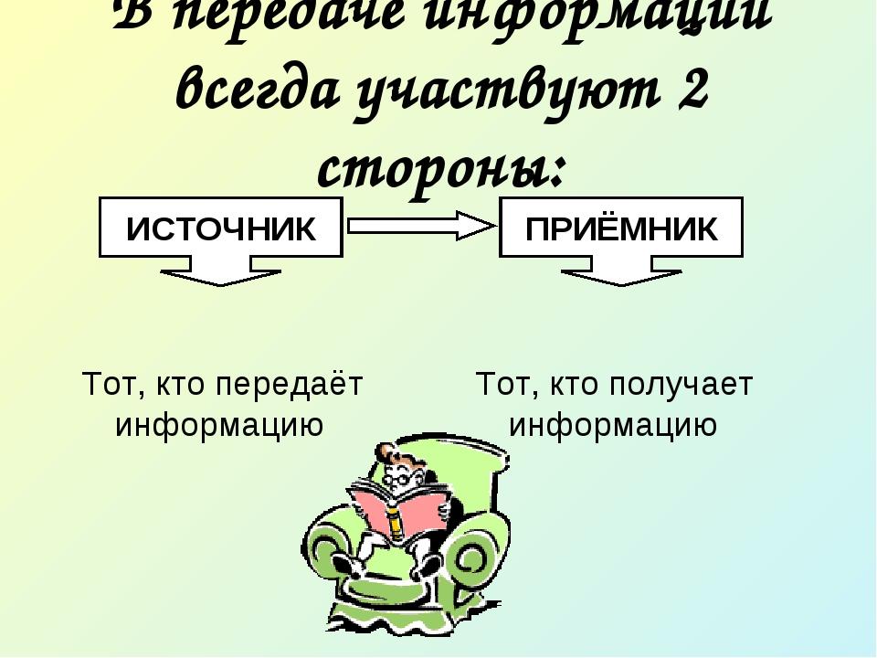 В передаче информации всегда участвуют 2 стороны: Тот, кто передаёт информаци...