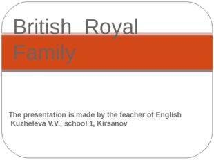 The presentation is made by the teacher of English Kuzheleva V.V., school 1,