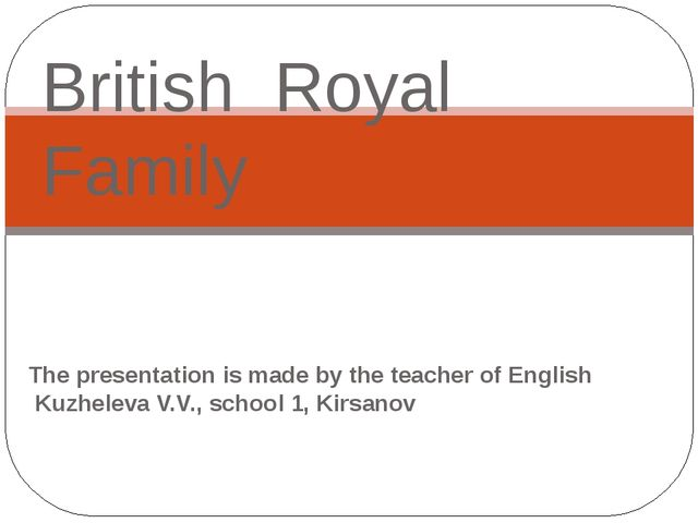 The presentation is made by the teacher of English Kuzheleva V.V., school 1,...