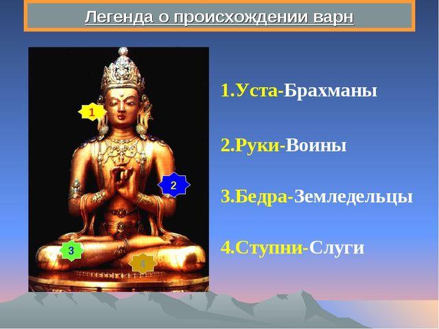 Легенда о происхождении варн 1 2 3 4 1.Уста-Брахманы 2.Руки-Воины 3.Бедра-Зем...