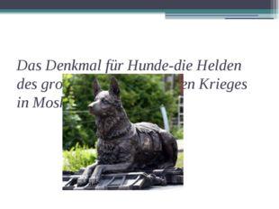 Das Denkmal für Hunde-die Helden des grossen Vaterländischen Krieges in Mosk