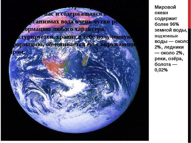 Мировой океан содержит более 96% земной воды, подземные воды — около 2%, ледн...