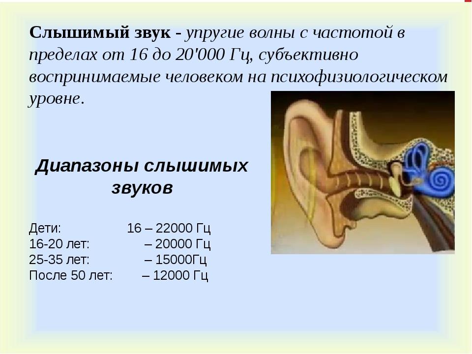 Диапазоны слышимых звуков Дети: 16 – 22000 Гц 16-20 лет: – 20000 Гц 25-35 лет...