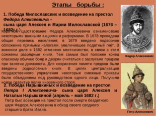 Этапы борьбы : 1. Победа Милославских и возведение на престол Федора Алексеев