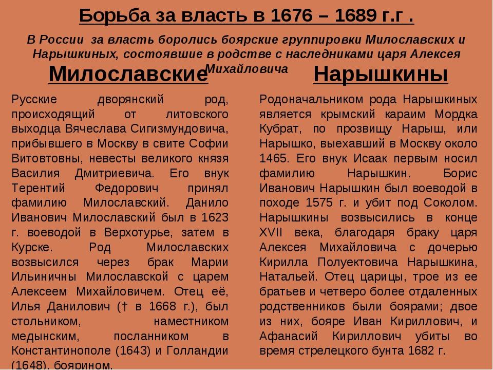 Милославские Нарышкины Русские дворянский род, происходящий от литовского вых...