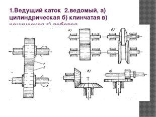 1.Ведущий каток 2.ведомый, а) цилиндрическая б) клинчатая в) коническая г) ло