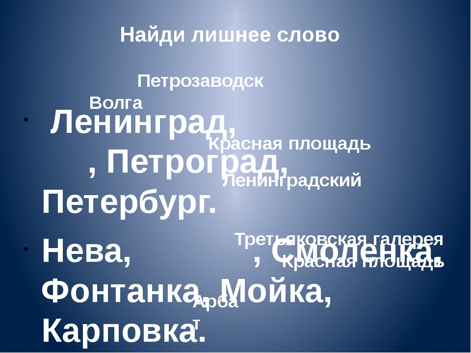 Найди лишнее слово Ленинград, , Петроград, Петербург. Нева, , Смоленка, Фонта...