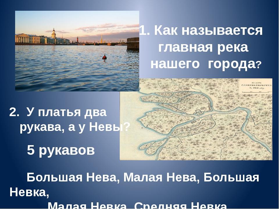 1. Как называется главная река нашего города? Большая Нева, Малая Нева, Больш...