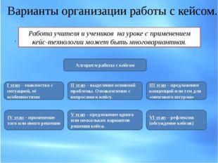 . Варианты организации работы с кейсом. Работа учителя и учеников на уроке с