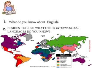 1. What do you know about English? 2. BESIDES ENGLISH WHAT OTHER INTERNATIONA