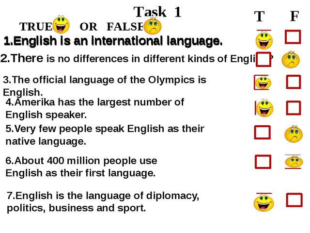 Task 1 TRUE OR FALSE T F 1.English is an international language. 2.There is...