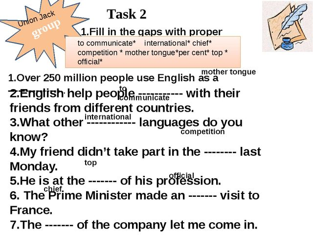 group Task 2 1.Fill in the gaps with proper words. to communicate* internati...