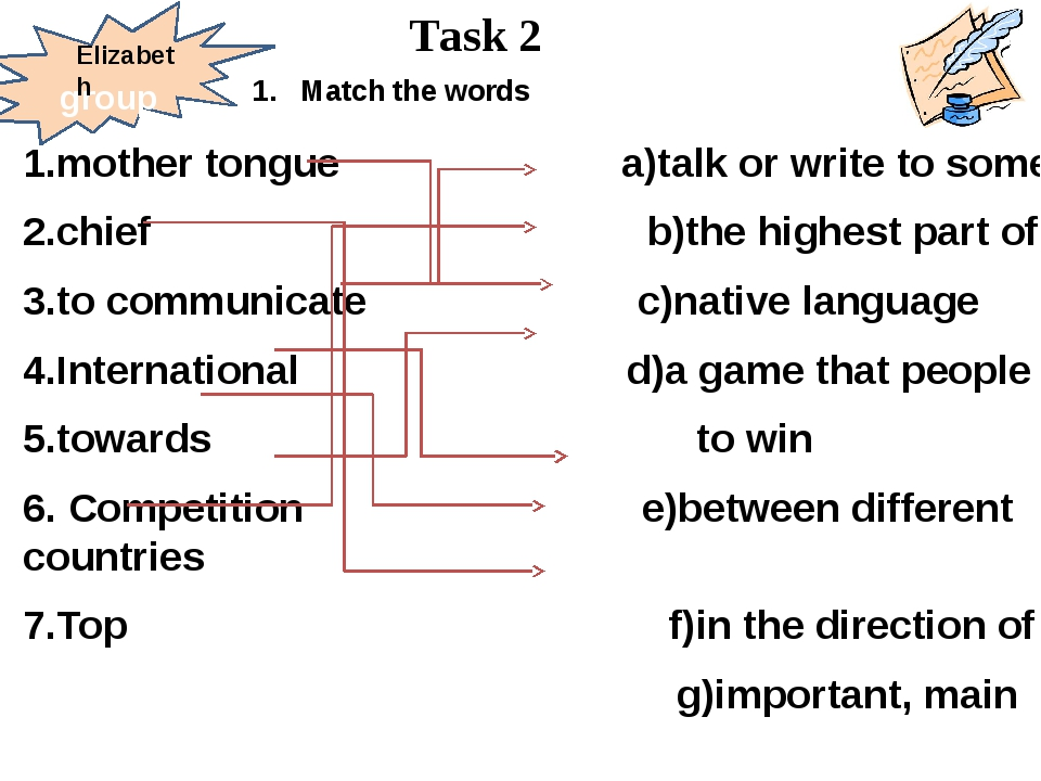 1.mother tongue a)talk or write to somebody 2.chief b)the highest part of smt...