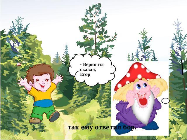 - Верно ты сказал, Егор , так ему ответил бор.