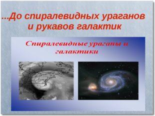 ...До спиралевидных ураганов и рукавов галактик