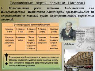 Реакционные черты политики Николая I 1. Колоссальный рост значения Собственно