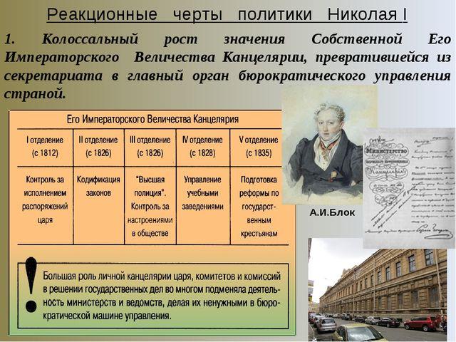 Реакционные черты политики Николая I 1. Колоссальный рост значения Собственно...