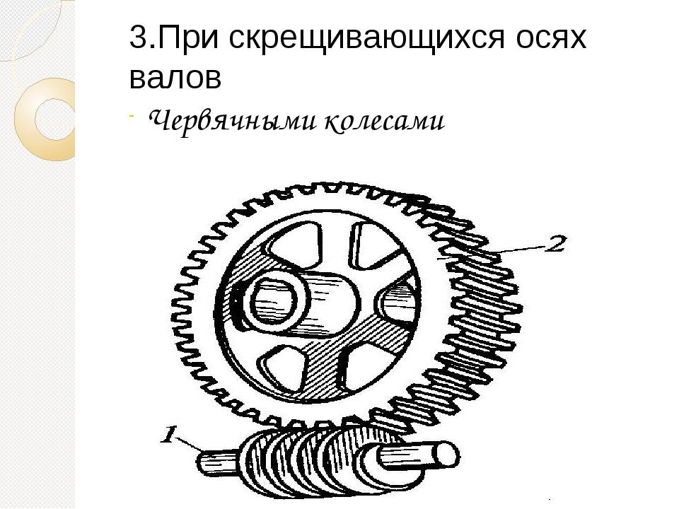 3.При скрещивающихся осях валов Червячными колесами