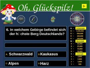 6. In welchem Gebirge befindet sich der hӧchste Berg Deutschlands? Schwarzwal