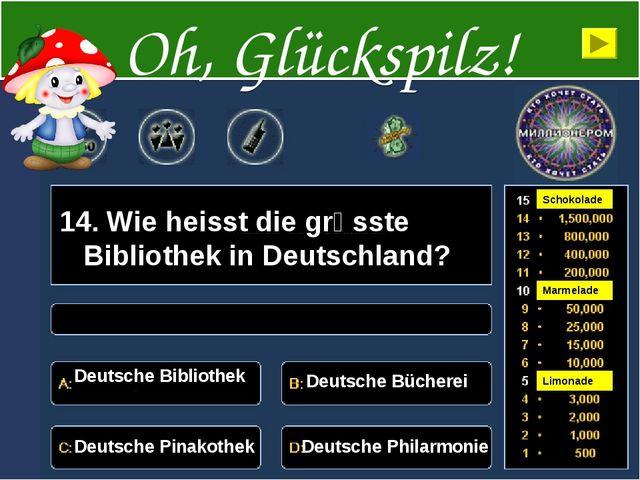 14. Wie heisst die grӧsste Bibliothek in Deutschland? Deutsche Bibliothek Deu...