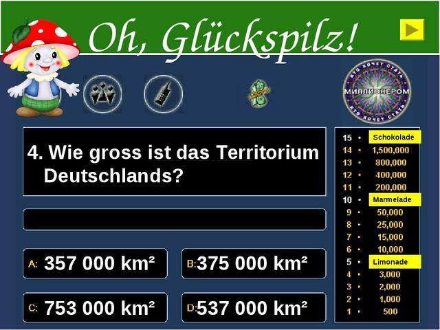 4. Wie gross ist das Territorium Deutschlands? 357000 km² 375000 km² 75300...