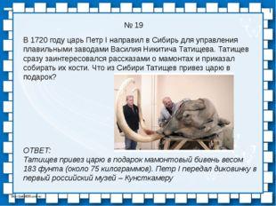 № 19 В 1720 году царь Петр I направил в Сибирь для управления плавильными зав