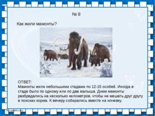 № 8 Как жили мамонты? ОТВЕТ: Мамонты жили небольшими стадами по 12-15 особей.