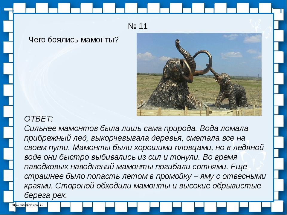 № 11 Чего боялись мамонты? ОТВЕТ: Сильнее мамонтов была лишь сама природа. Во...